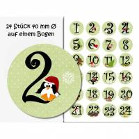 Selbstklebende Zahlen/Adventskalender, Adventskalenderzahlen, Weihnachtsmotive grün, Weihnachten Bild 1