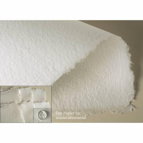 6 Blatt handgeschöpftes Papier, weiß, ca. 21 cm x 29,5 cm, ca. 80 g/qm bis 140 g/qm, Büttenpapier, geeignet als Briefpapier, Malpapier