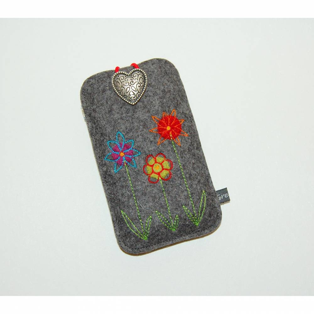 Filz Smartphone Schutzhülle gemalte Blumenwiese nach Wunschmaß Bild 1