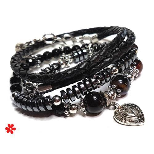 Onyx Wickelarmband Hämatit & Achat Edelsteine, Anhänger Silber, Lederband geflochten, Leder Armband Damen, schwarz