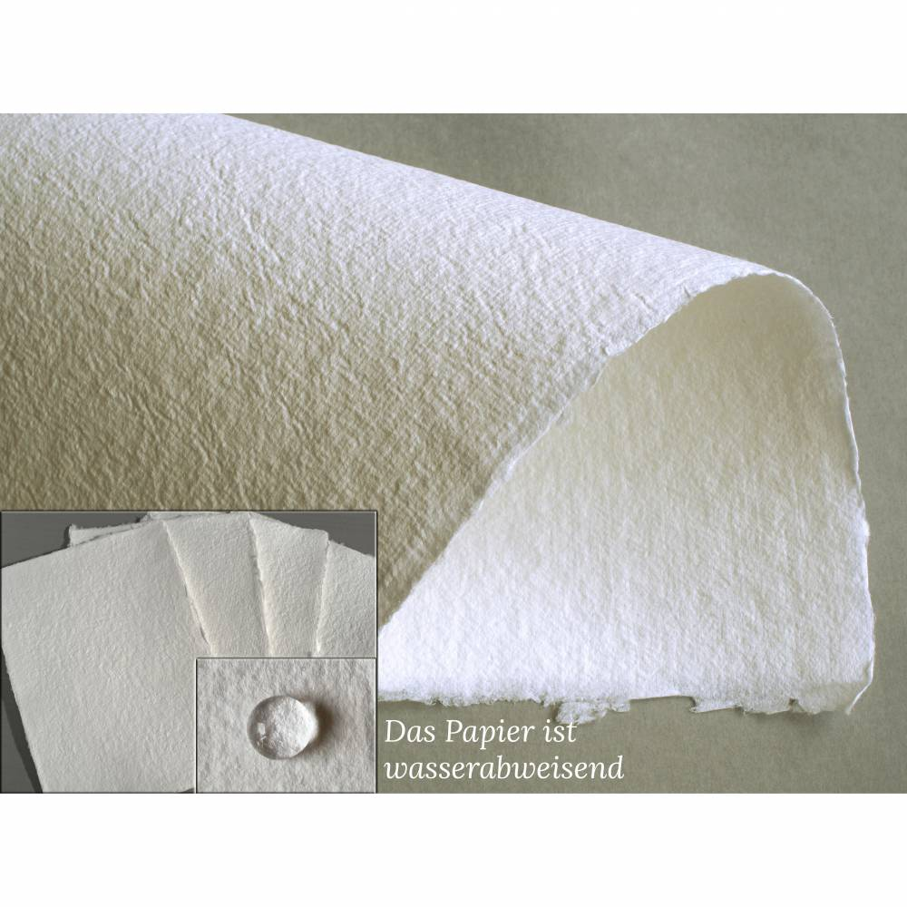4 Blatt handgeschöpftes Papier, ca. 21 cm x 29,5 cm, ca. 140 g/qm, mattweißes Büttenpapier, Malpapier Bild 1