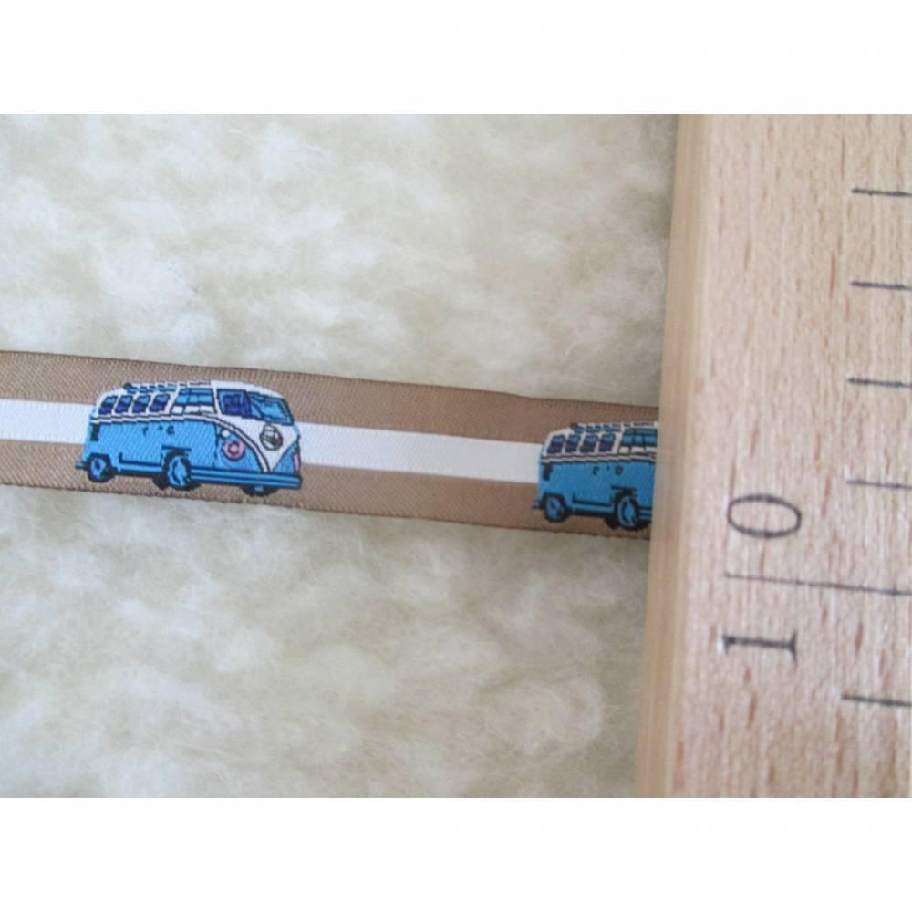 1 m Webband Bus Bulli blau -beige - weiß Breite ca.15 mm (1m/1,70 €) Bild 1