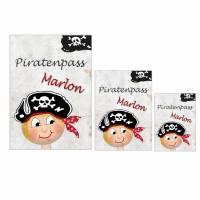 Schutzhüllen für U-Heft, Impfpass und Krankenversicherungskarte, Geburt, Taufe, personalisiert, Pirat Bild 1