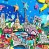 Paris 3D mixed media skyline pop art bild papier kunst souvenir geschenk Eiffelturm sehenswürdigkeiten   Bild 2