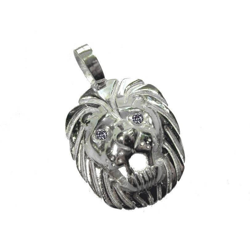 Löwenkopf 925 Silber Anhänger ca. 18g mit Zirkonia Steinen Augen Massiv Löwe Bild 1