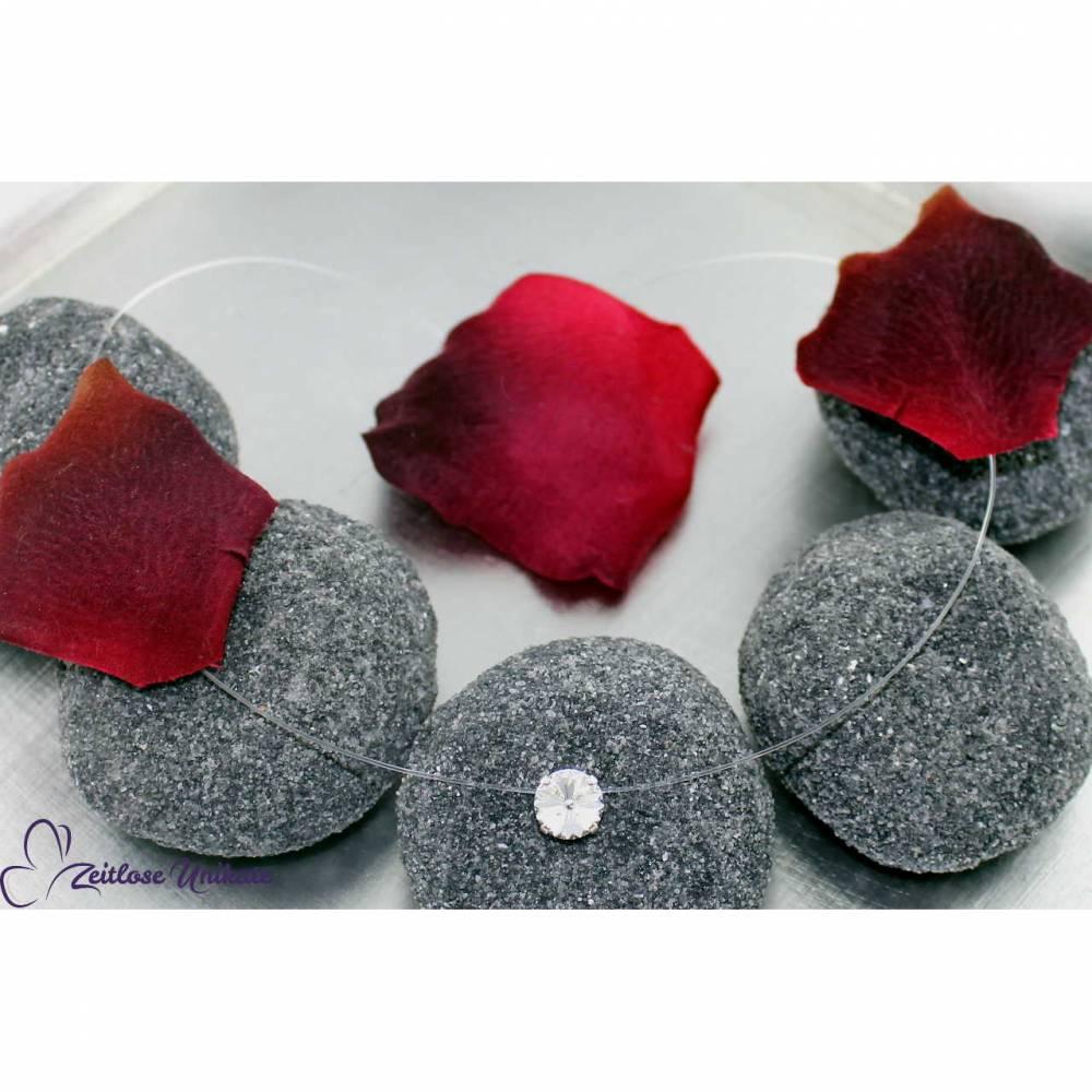 schwebender Kristallstein - transparente Kette + der Kleine + schwebender Stein - Halskette durchsichtig Bild 1