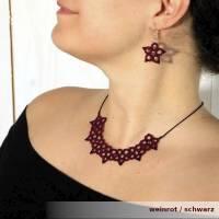 Kette Amelie dunkelrot schwarz Baumwolle Rocailles 925er Silber Karabiner Textilschmuck Bild 1