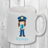 Tasse mit Name, Namenstasse, Polizistin Bild 1