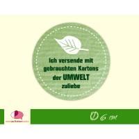 """Verpackungsaufkleber: Blatt - grün   """"Der Umwelt zuliebe - Versand mit gebrauchten Kartons"""" - runde Etiketten für Kartons  Bild 1"""