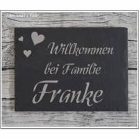 Türschild Familie Namensschild Schiefer Gravur Naturprodukt Klingelschild Wohnen Wand Wanddekoration Hausschild Eingang
