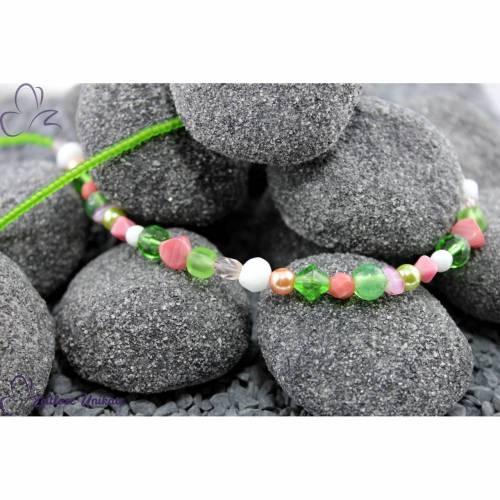 Durcheinander, grünrosapink interessante Kette in grün, rosa / pink Tönen