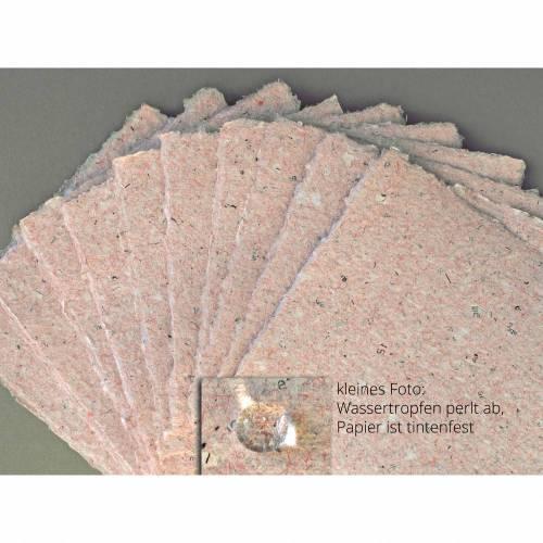 10 Blatt handgeschöpftes Papier, ca. 9 cm x 9 cm, rosafarbenes Büttenpapier, Bastelpapier