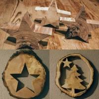 Weihnachtsdeko Baumscheibe Stern oder Tannenbaum Handgemacht Bild 1