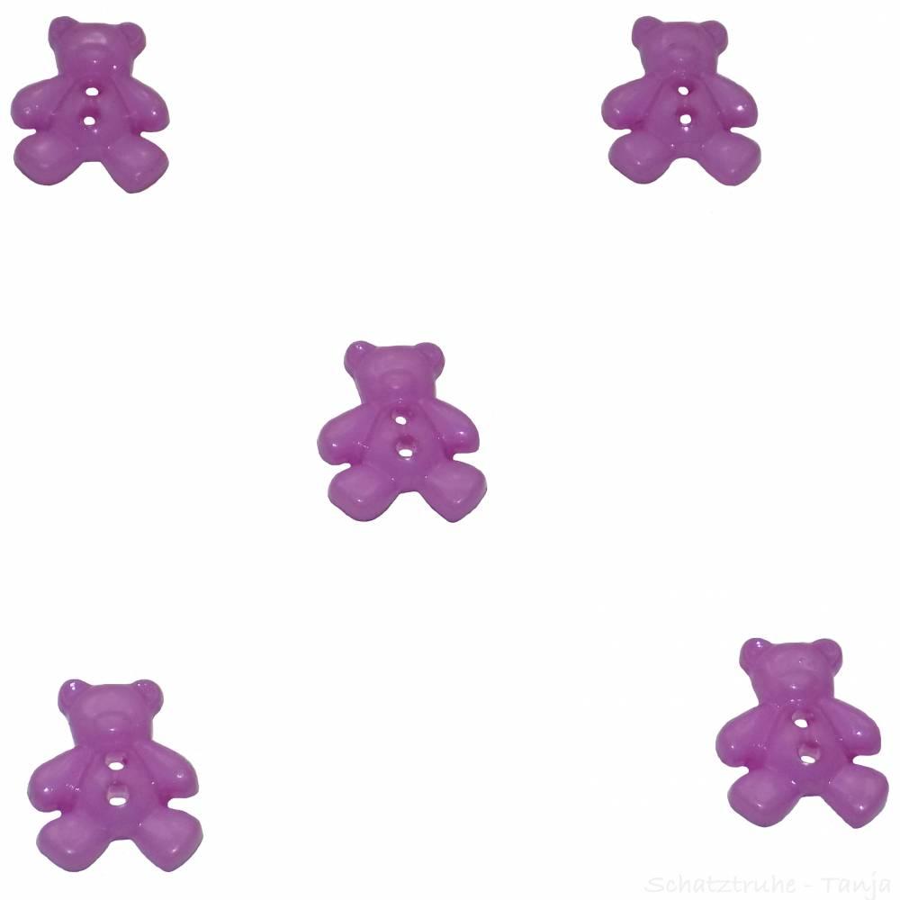 Kinderknöpfe Bären als Kunststoffknöpfe in lila 20 mm Bild 1