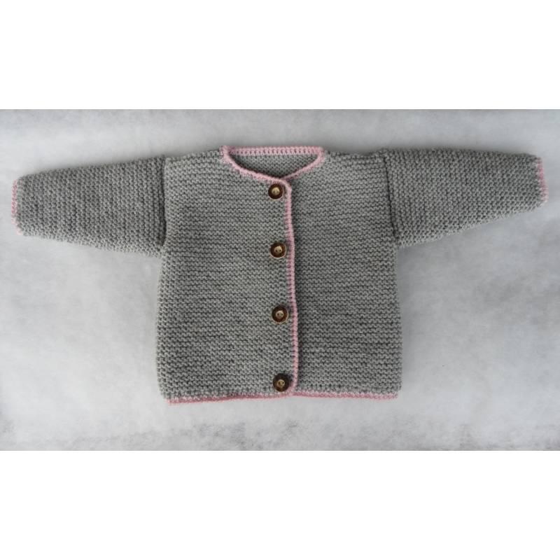 Baby Trachtenjacke grau rosa Gr. 68 gestrickt Bild 1
