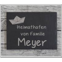 Türschild Familie Namensschild Schiefer Gravur Naturprodukt Klingelschild Wohnen Wand Wanddekoration Hausschild Eingang Bild 1