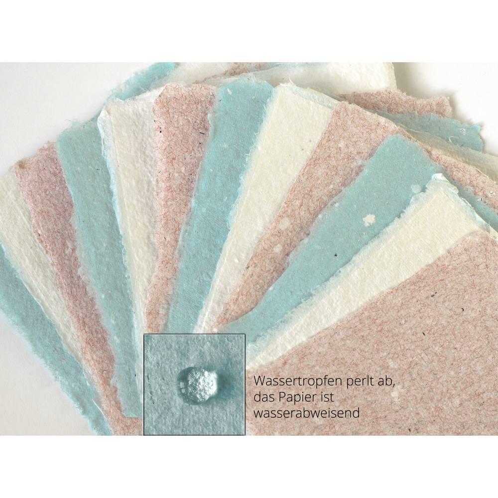 12 Blatt handgeschöpftes Papier, ca. 9 cm x 9 cm, türkis, rosa und weiß, Büttenpapier für Tischkarten, zum Zeichnen, Malen, Stempeln Bild 1