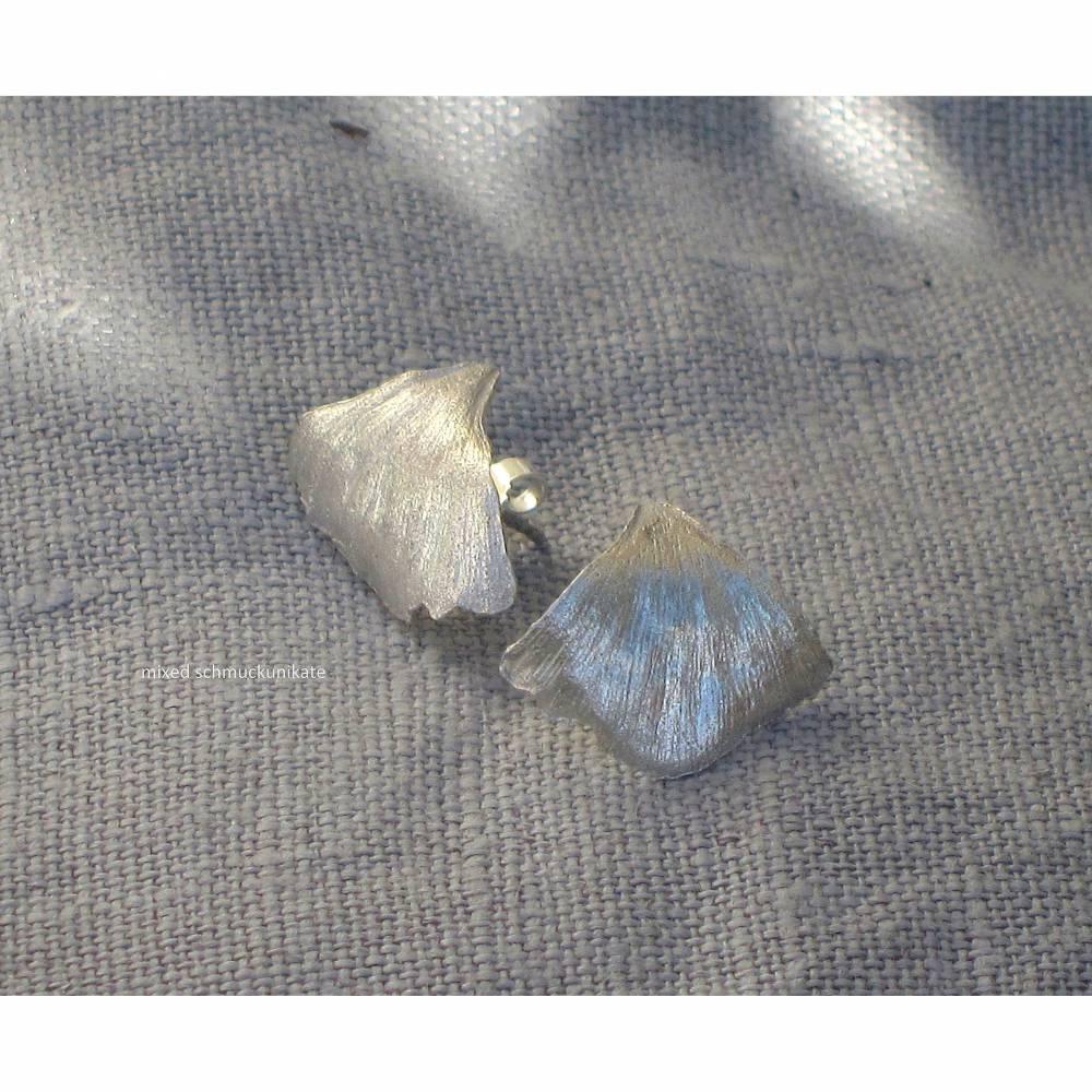 Ohrstecker Ginkgo-Blatt aus Silber Bild 1