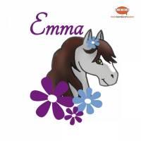 Türaufkleber: graues Pony mit lila-blauen Blüten  | Wandtattoo für Kinderzimmer, personalisierbar Bild 1
