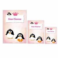 Schutzhüllen für U-Heft, Impfpass und Krankenversicherungskarte, Geburt, Taufe, personalisiert, Pinguin blau Bild 1