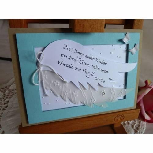 Glückwunschkarte, Geburtskarte, Grußkarte zur Geburt/Taufe für einen Jungen mit Flügeln und einem aufgestempeltem Spruch