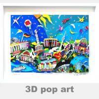 Berlin 3D pop art städte wand bild Reichstag Brandenburger Tor fine art limited edition städtebilder Bild 1