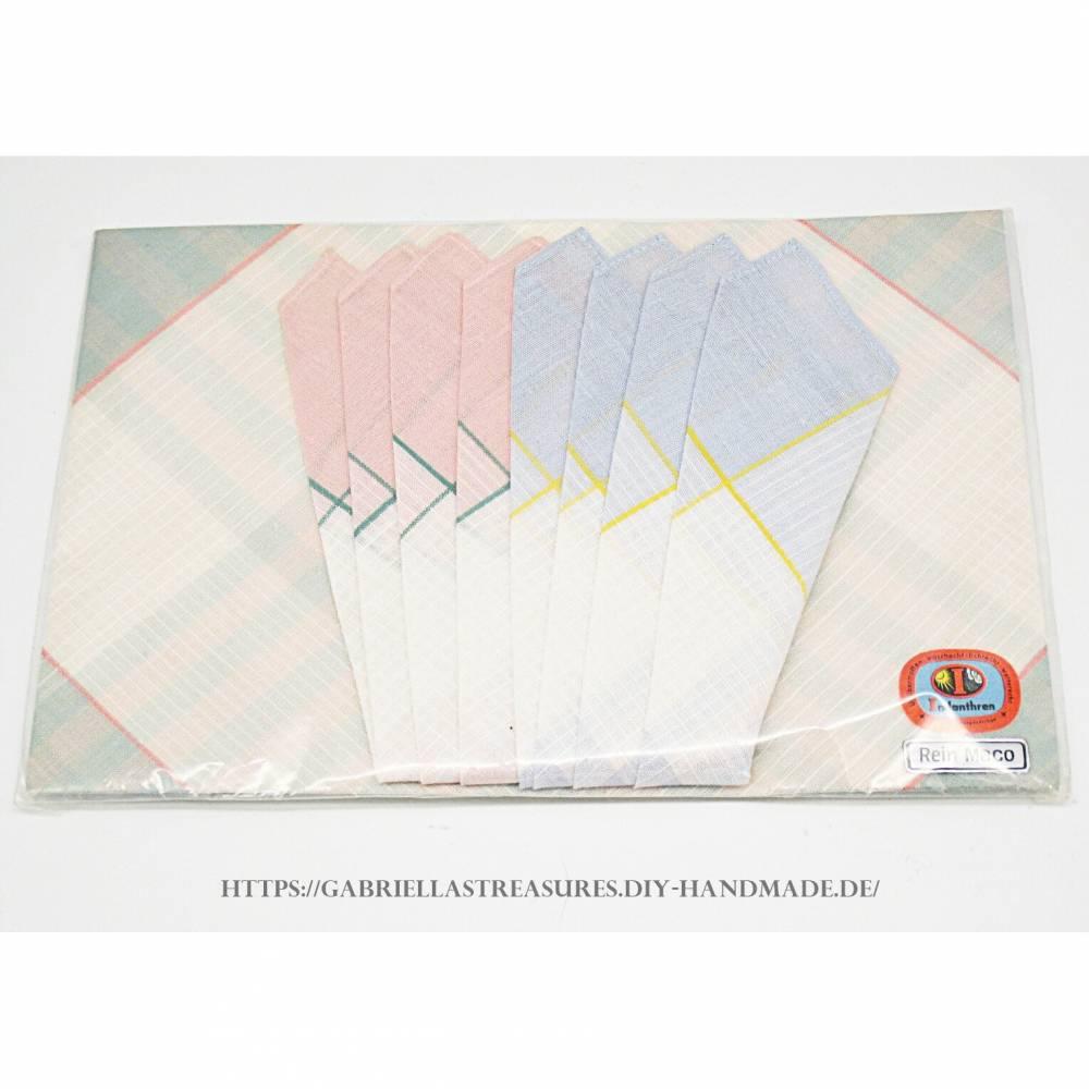 Vintage Damen Taschentücher, 3er Set, dreifarbig eingewebt, Originalverpackung, Indanthren, rein Maco, Bild 1