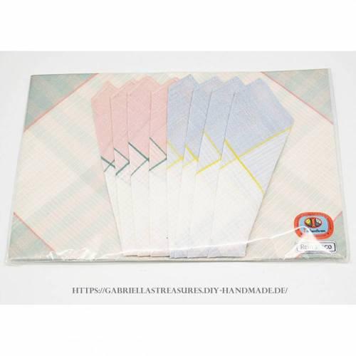 Vintage Damen Taschentücher, 3er Set, dreifarbig eingewebt, Originalverpackung, Indanthren, rein Maco,