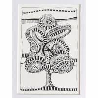 Fineliner Zeichnung, Original, Vogel im Baum - Suchbild, mit Passepartout 15 cm x 20 cm Bild 1