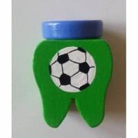 Zahndose Fußball  Milchzahndose mit Name Wunschfarbe Zahnaufbewahrung Bild 1