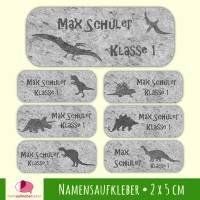 52 Namensaufkleber   Dino Fossilien - grau - 2 x 5 cm