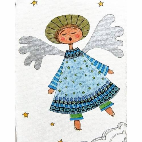 Original, Zeichnung, Engel im blauem Kleid, Weihnachtsgeschenk, Taufgeschenk