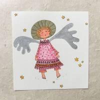Original, rosa Engel, Zeichnung in Mischtechnik, 15 cm x 15 cm Bild 1