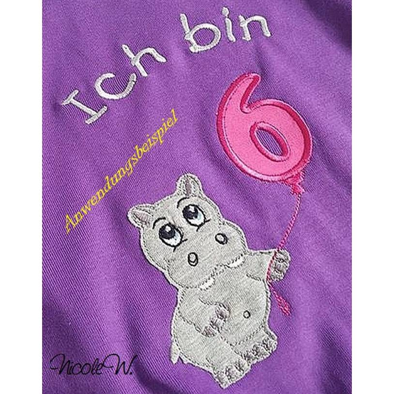 """9x Applikation, Doodle, Stickdatei """" Hippo mit Geburtstagszahlen """"  Embroidery - div. Formate Bild 1"""