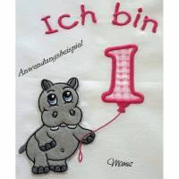 """9x Applikation, Doodle, Stickdatei """" Hippo mit Geburtstagszahlen """"  Embroidery - div. Formate Bild 3"""