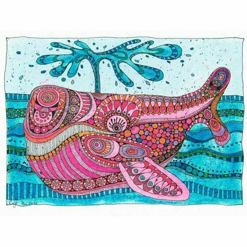 Original, bunte Tierzeichnung, Titel: Voll psychedelischer Wal