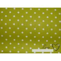 7,90 EUR/m Stoff Baumwolle Punkte weiß auf grün kiwi 4mm