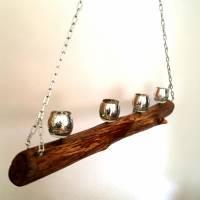 Treibholz Hängeleuchter für 4 Kerzen, mit silbern schimmernden Kerzengläsern, rustikal Bild 4