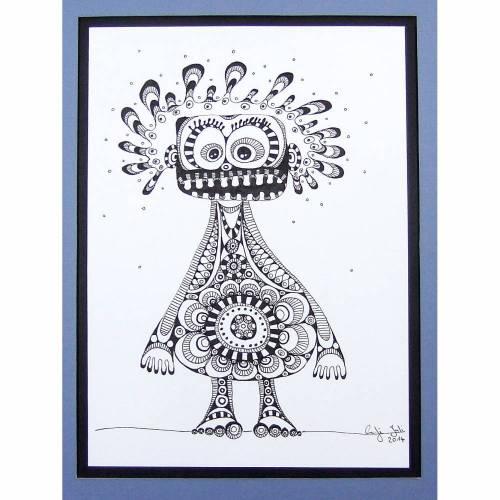 Originalzeichnung, schwarz-weiß, Fineliner, OrnamentMonster Nr 1, mit blauem Passepartout 20 cm x 30 cm