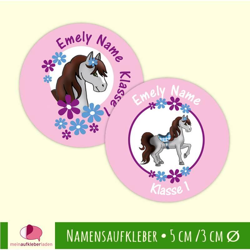 Namensaufkleber rund  | Pony mit Blumen - rosa Bild 1