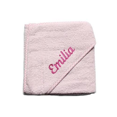 Kapuzenhandtuch mit Namen bestickt vichy karo rosa