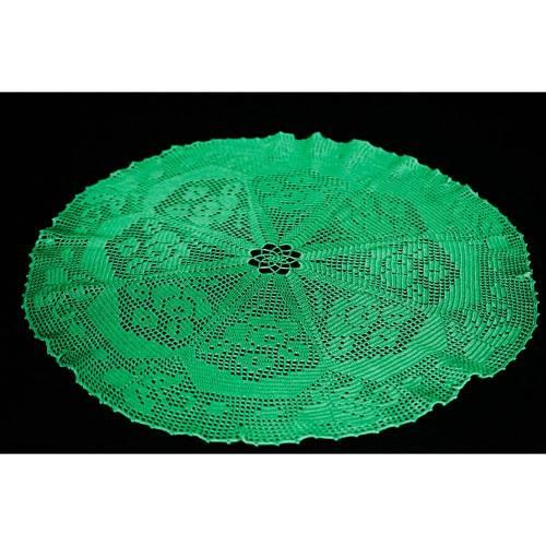vintage runde grüne handgehäkelte Tischdecke, Häkeldeckchen, Durchmesser 60 cm, Unikat,