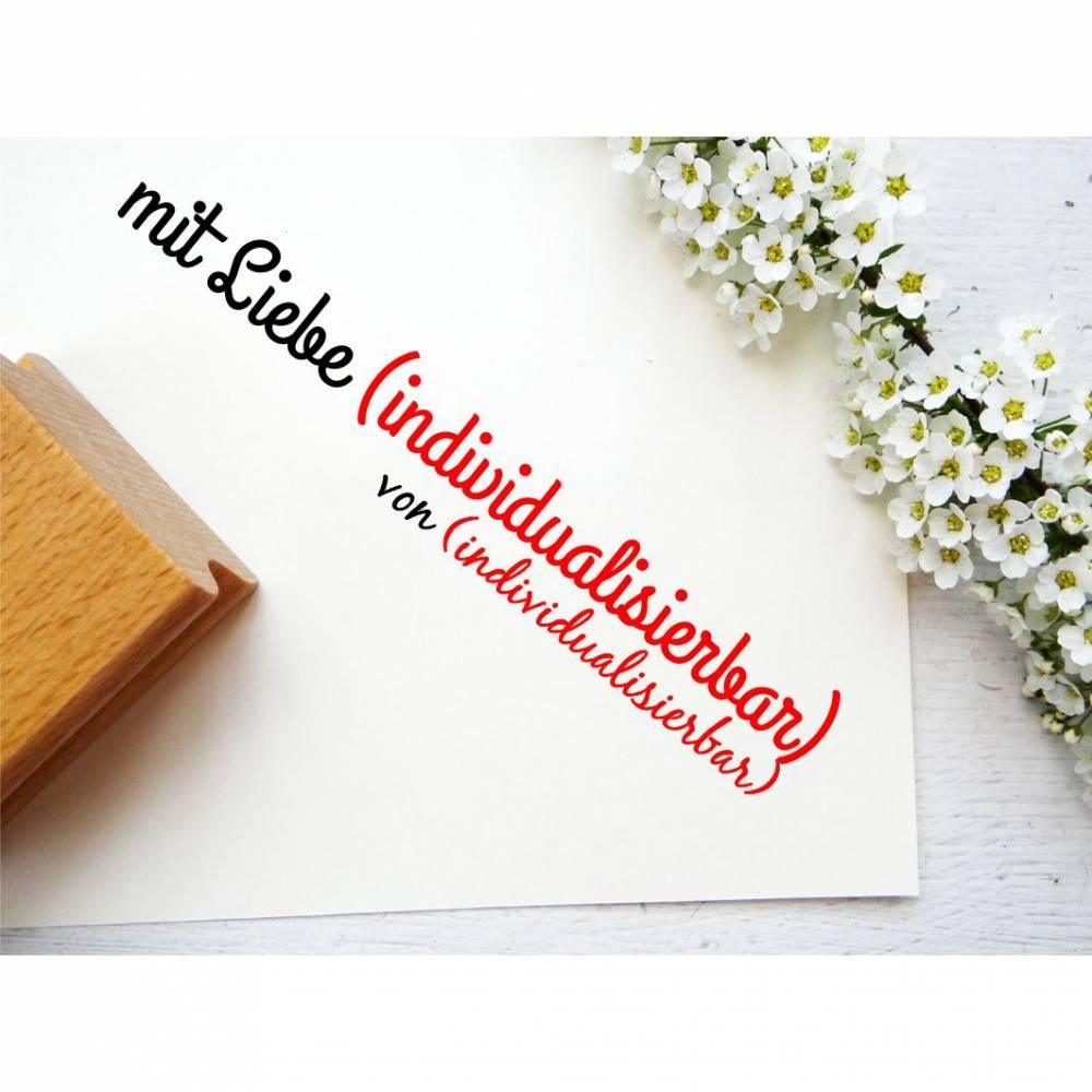 """Stempel """"mit Liebe...."""" deine Handarbeit und dein Name individualisierbar - Stempel mit deinem Labelnamen  Bild 1"""