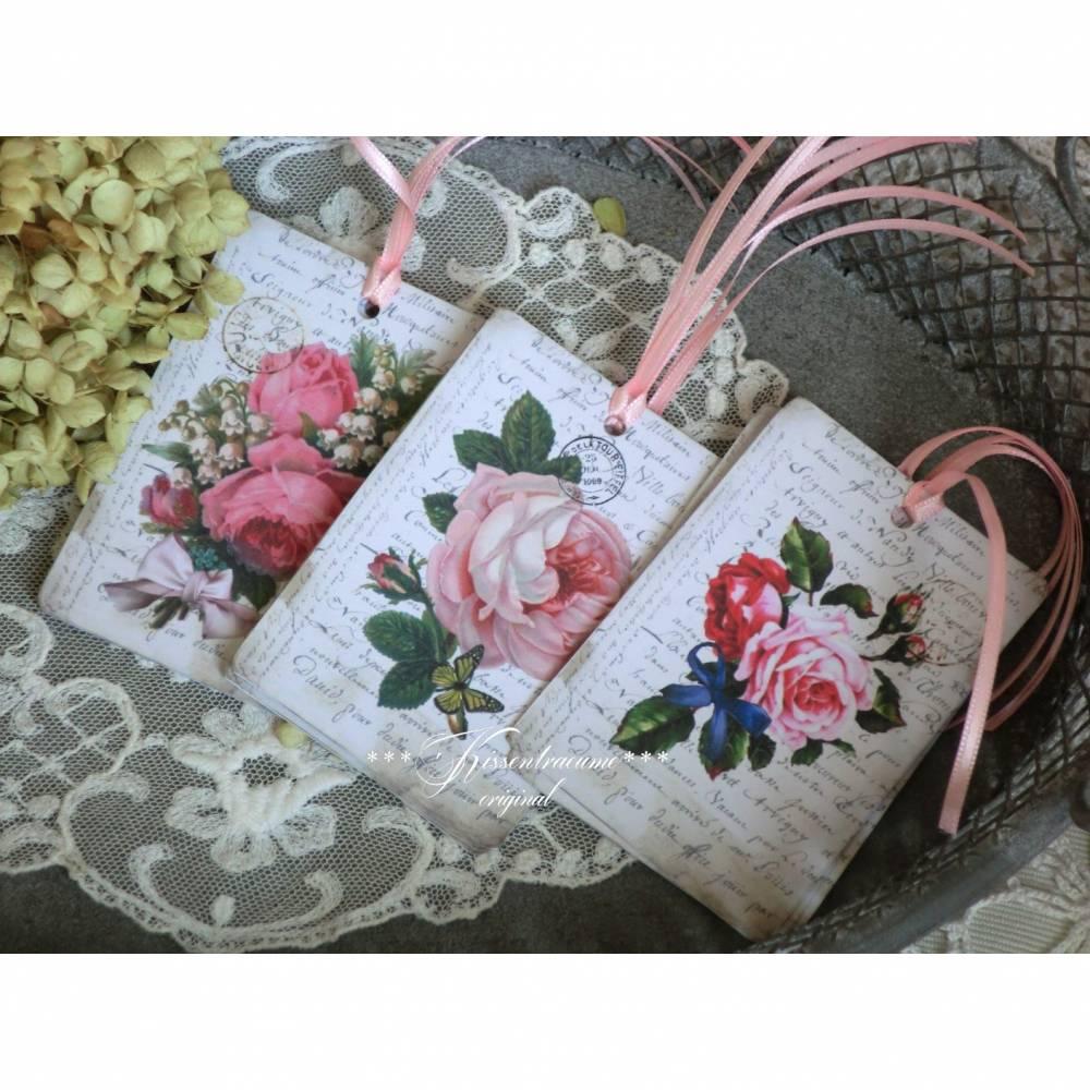 Geschenkanhänger, Dekoanhänger, Tags mit schönen Vintage Rosenmotiven Bild 1