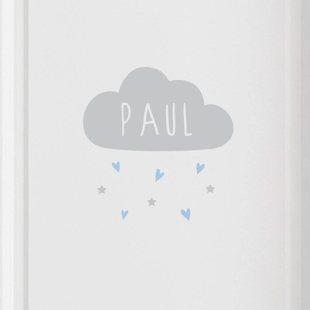 """Türschild  """"Wolke mit Name"""" Herzen, Namensschild auch als Wandtattoo verwendbar, personalisierbar Bild 1"""