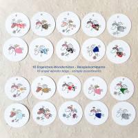 runde Geschenketiketten mit kleinen bunten collagierten Engelchen, Mini-Überraschungstüte, VPE: 10 Stück oder 5 Stück Bild 3