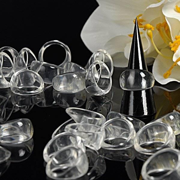 25 transparente Cluster-Ringe (Rohlinge) aus Kunststoff in verschiedenen Größen Bild 1