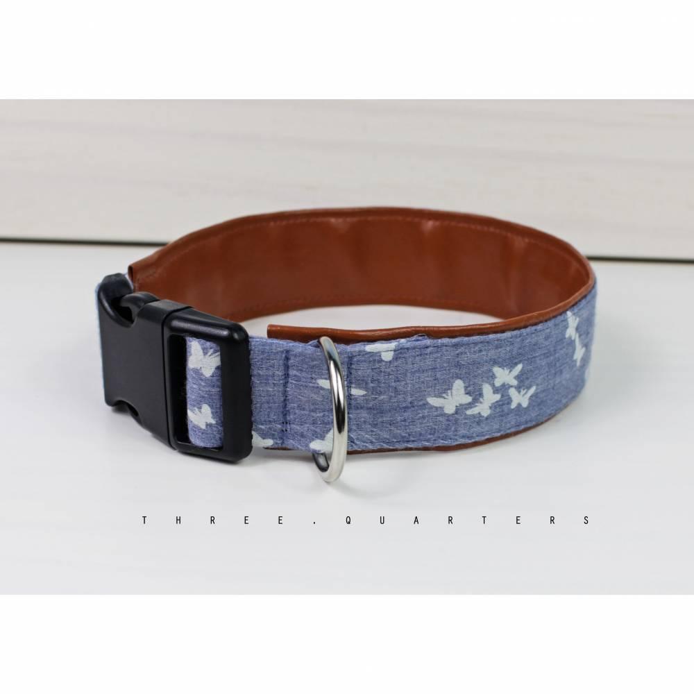 Hundehalsband, Schmetterlinge, Kunstleder, braun, blau, hellblau, Hund, Halsband, Hochzeit, Welpe, Hunde, Haustier, trendy, stylisch Bild 1