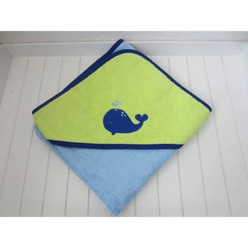 Kapuzenhandtuch 80x80 - blau grün - Wal