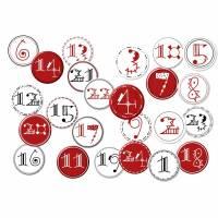 24 Stück Button Adventskalender Zahlen rot, schwarz, weiß, 1-24, Weihnachten, DIY, Pins, Adventszahlen, Adventskalender, Adventskalenderzahl Bild 1